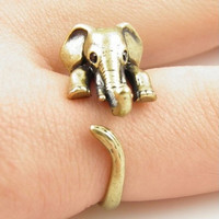 Retro Adjustable Elephant Animal Wrap Ring