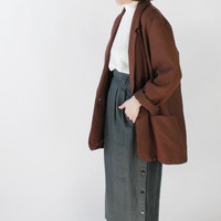 Vintage 80s Black and Brown Textured Oversized Blazer | L