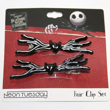 Licensed cool The Nightmare Before Christmas Jack Bat Bowtie Hair Clip Barrette Set 2 Pack NEW