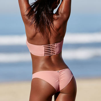 Ruched Mini Bikini Bottom - PINK - Victoria's Secret