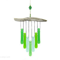 Green Glass Wind Chime,Ocean Green Chime,Sea Colors Windchime,Glass Chimes