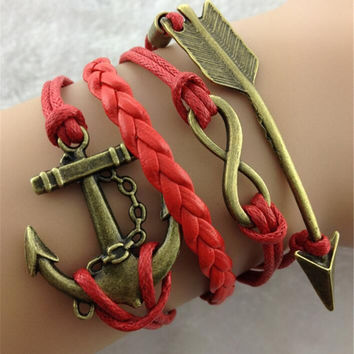 Arrow Anchor Red Rope Woven Bracelet
