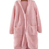 Pink Cable Knitted Cardigan With Pockets