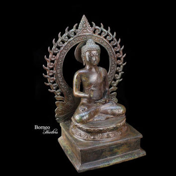 """Bronze Buddha With Arch  14.3""""Teaching Buddha Of Vitakra Mudra Meditation, Enlightenment, Peaceful Buddha Sculpture With Flaming Arch"""