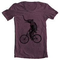 Unisex - Men's Women's T shirt - ELEPHANT RIDING a BIKE Fashion American Apparel Tshirt Tee - Plum (9 Colors) Sizes xs, s, m, l, xl (cts)