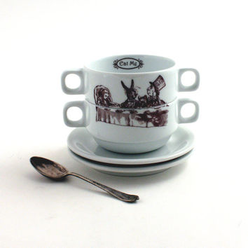 Alice in Wonderland Two Cereal Bowls Porcelain Tea Party Soup Mugs Stacking Saucers Couple Two Handles Whimsical Literature English