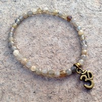 Serendipity, Fine Faceted Labradorite Bracelet with Om Charm