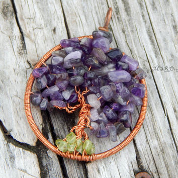 Tree of life pendant - wire wrapped tree - gemstone tree - wire wrap pendant - tree of life jewelry - bohemian pendant - amethyst pendant