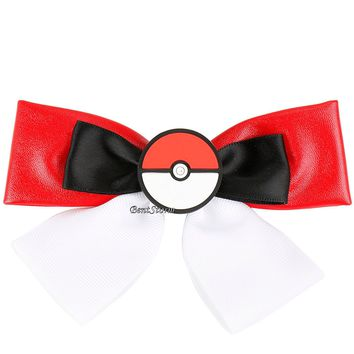 Licensed cool Pokemon GO POKEBALL POKE BALL Hair Bow Pin Cosplay Costume Dress-Up RED WHITE