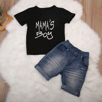 Mama's Boy Short Sleeve Cotton T-shirt Tops+Jean Shorts Denim Set 1-6 Yrs