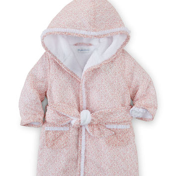 Hooded Floral Cotton Robe, Pink, Size 3-9 Months,