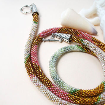 Long bead crochet necklace, rope - Gold Pink Pearl Green Beadwork