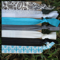 7 Pack TURQUOISE Fleur de Lis Black Paisley Knot Hair Ties Stretch Fold Over Elastic FOE Pony Tail Holder Bracelet CUTE  -3