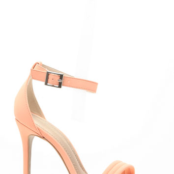 Peach Faux Nubuck Stitched Single Sole Ankle Strap Heels