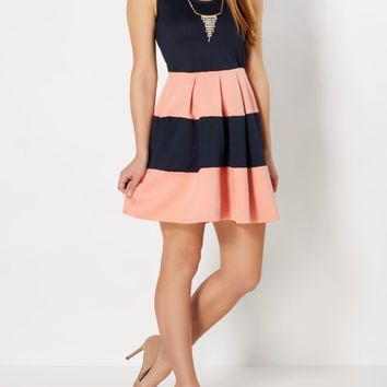 Coral Striped Rhinestone Necklace Skater Dress | Skater Dresses | rue21