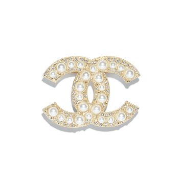 Earrings, metal, strass & resin, gold & pearly white - CHANEL