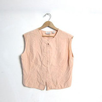 silk tank top / silk peach camisole / cropped silk top / button front silk shirt