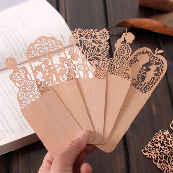 Cute Kawaii Hollow Wooden Flower Bookmark Lovely Sweet Girl Bookmarks For Book School Supplies Free Shipping 2407