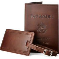 Leather Passport/Luggage Tag, Café, Passport Cases