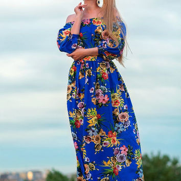 blue floral summer Dress, floral maxi off shoulder dress, open shoulder long dress, short sleeve viscose dress, full length beach dress