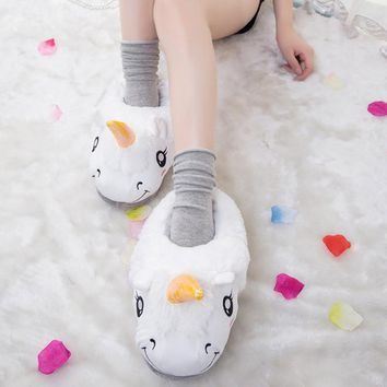 New Winter Indoor Slippers Plush Home Shoes Unicorn Slippers for Grown Ups Unisex Warm