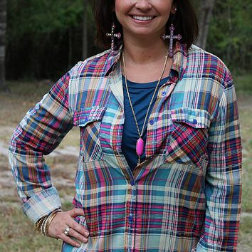 Sparkle Is My Middle Name Pink Magenta and Teal Plaid Long Sleeve Button Up Shirt with Gold Sequins