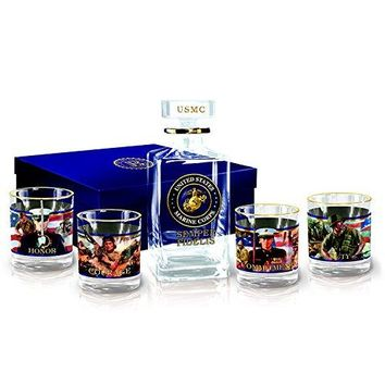 USMC Semper Fidelis 5 Piece Crystal Decanter and Glass Set with Gift Box by The Bradford Exchange