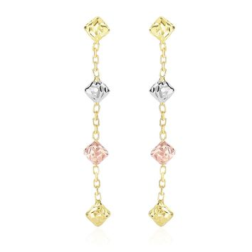 14K Tri-Color Gold Diamond Shape with Diamond Cuts Chain Dangling Earrings