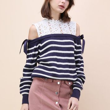 Sweet Evocation Cold-shoulder Sweater in Navy Stripes