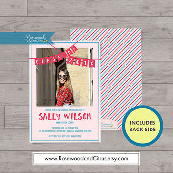 Pink Bunting Grad Party Invitation, Photocard Graduation Invitation, Pink Graduation Announcement, Senior Graduation Printable,Class of 2016