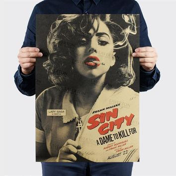 Lady Gaga C style/cosplay /Famous star sexy beauty /kraft paper/Wall stickers/Retro bar Poster/decorative painting 51x35.5cm