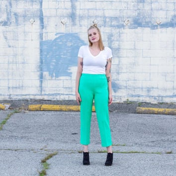 vintage high waisted pants / 1960s pants / 1970s pants / polyester pants / cigarette pants / high waisted trousers / seafoam green pants