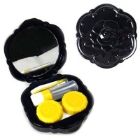 JAVOedge Black Rose Contact Lens Carry Case Travel Kit with Bonus Soft Microfiber Lens Cleaning Cloth