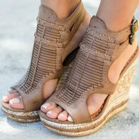 Meta Tan Wedges