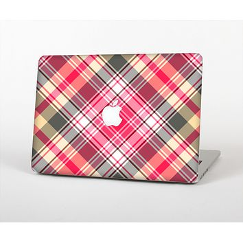 The Pink & Tan Plaid Layered Pattern V5 Skin for the Apple MacBook Air 13""