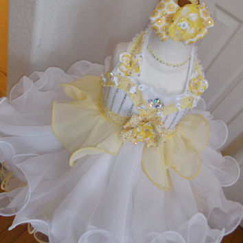 Made to Order - Semi Glitz Pageant Babydoll Dress - Chiffon White & Butter Yellow