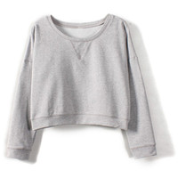 ROMWE | Grey Round Neck Long Sleeve Crop Sweatshirt, The Latest Street Fashion