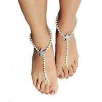 Cougars Choice Pearl Barefoot Sandals For Women Starfish Sandals Foot Jewelry For Beach Wedding