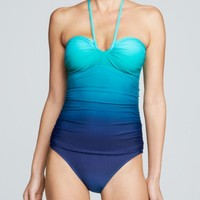 Lauren Ralph Lauren Island Ombre Shirred Bandeau One Piece Swimsuit | Bloomingdales's
