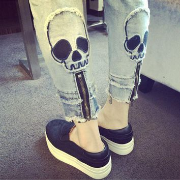 DCCKXT7 Personality Fashion Casual Zip Skull Head Jeans Pants Trousers Small Foot Pants