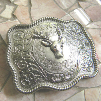 Deer Head Belt Buckle, Deer Skull Hunter Hunting, Taxidermy, Groomsmen Gift, Silver Western Womens Mens Belt Buckle, Groomsen Gift