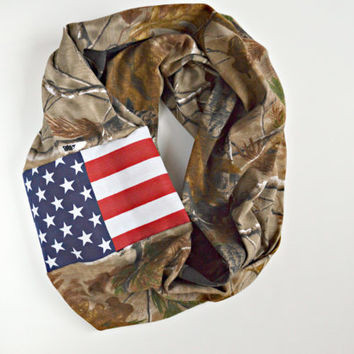 25% off Real Tree promo code: REALTREE25  American Infinity Scarf, American Flag Camo Scarf