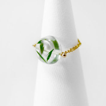 Real Flower Jewellry, Gold Ring, Circle Ring, Chain Ring, Resin, Ice Box, Freeze, Flower Ring, Green Leaves,