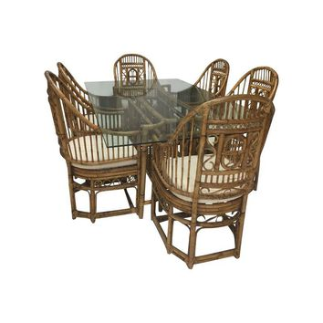 Pre-owned Vintage McGuire Rattan Barrel Chair Dining Set
