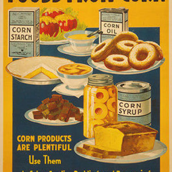 CORN PRODUCTS Vintage Ad Poster KITCHEN COLLECTORS Baked Goods ART 24X36