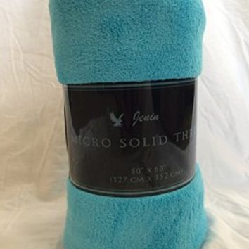 """Ultra Soft Cozy Plush Fleece Warm Solid Colors Traveling Throw Blanket 50"""" X 60"""" (127 Cm X 152 Cm) (Turquoise)"""