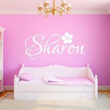 Personalized Custom Any Name Wall Stickers for Kids Rooms Nursery Decor Modern Flower Girl Name Wall Decal Vinyl Mural A917