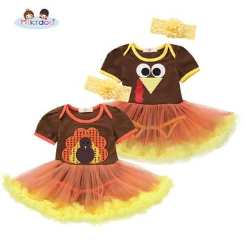Toddler Newborn Baby Boys Girls Thanksgiving Turkey Print Clothes Short Sleeve Romper Dress with Lace Bow Headband 2PCS Outfit