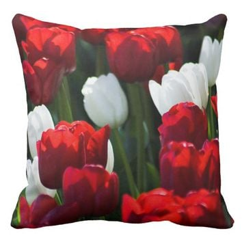 Red and White Tulips Throw Pillow