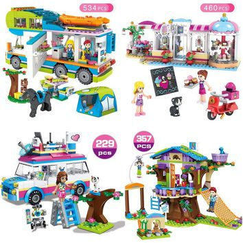 Friends Series Heart Lake City Girls Club Street Compatible with Lego Blocks Pink Cake Cafe Blue Camper Friends Toys Gift